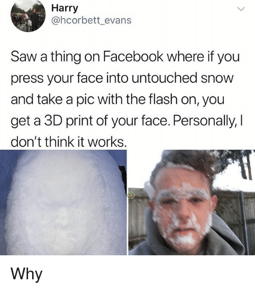 Facebook, Memes, and Saw: Harry  @hcorbett_evan:s  Saw a thing on Facebook where if you  press your face into untouched snow  and take a pic with the flash on, you  get a 3D print of your face. Personally, |  don't think it works. Why
