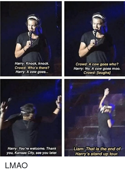 Lmao, Memes, and Thank You: Harry: Knock, knock.  Crowd: Who's there?  Harry:A cow goes.  Crowd:A cow goes who?  Harry: No. A cow goes moo.  Crowd:[laughs  Harry: You're welcome. Thank  you, Kansas City, see you later.  Liam: That is the end of  Harry's stand up tour LMAO