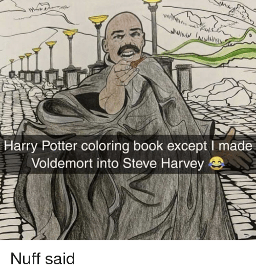 Steve Harvey: Harry Potter coloring book except I made  Voldemort into Steve Harvey Nuff said
