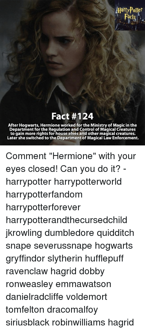 """departed: Harry Potter  Fact #124  After Hogwarts, Hermione worked for the Ministry of Magic in the  Department for the Regulation and Control of Magical Creatures  to gain more rights for house elves and other magical creatures.  Later she switched to the Department of Magical Law Enforcement. Comment """"Hermione"""" with your eyes closed! Can you do it? - harrypotter harrypotterworld harrypotterfandom harrypotterforever harrypotterandthecursedchild jkrowling dumbledore quidditch snape severussnape hogwarts gryffindor slytherin hufflepuff ravenclaw hagrid dobby ronweasley emmawatson danielradcliffe voldemort tomfelton dracomalfoy siriusblack robinwilliams hagrid"""