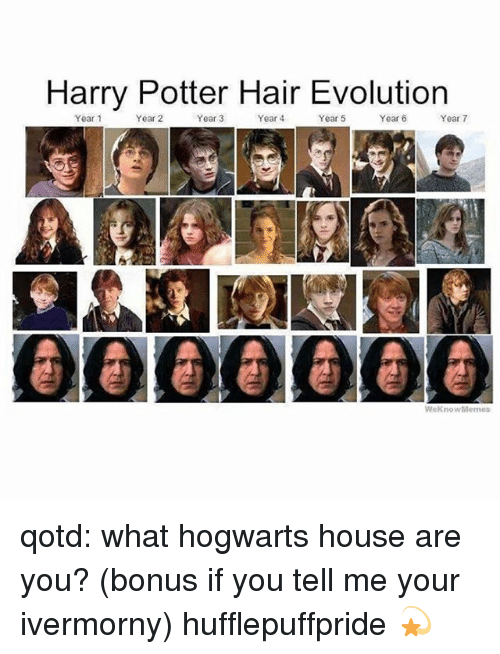 Weknowmemes: Harry Potter Hair Evolution  Year 1  Year 2  Year 3  Year 4  Year 5  Year 6  Year 7  000@O00  WeKnowMemes qotd: what hogwarts house are you? (bonus if you tell me your ivermorny) hufflepuffpride 💫