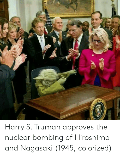 truman: Harry S. Truman approves the nuclear bombing of Hiroshima and Nagasaki (1945, colorized)