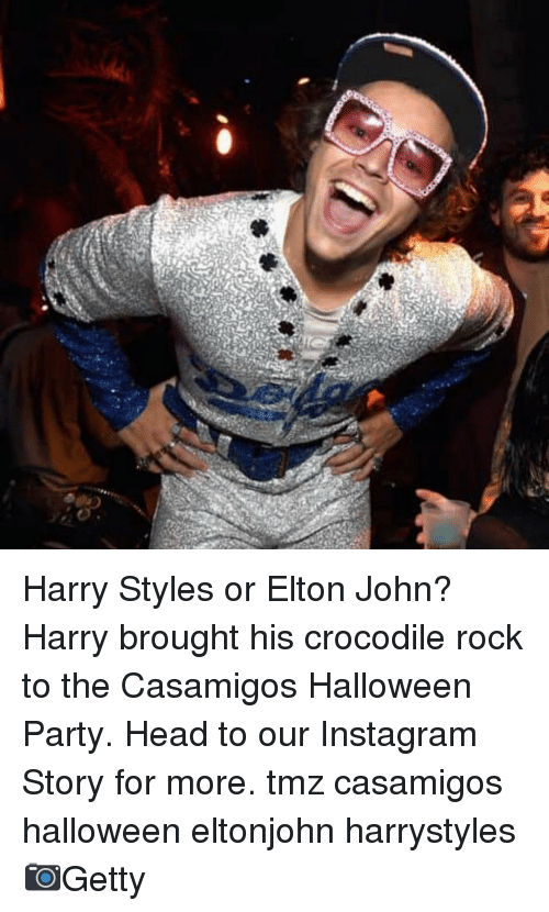Harry Styles: Harry Styles or Elton John? Harry brought his crocodile rock to the Casamigos Halloween Party. Head to our Instagram Story for more. tmz casamigos halloween eltonjohn harrystyles 📷Getty