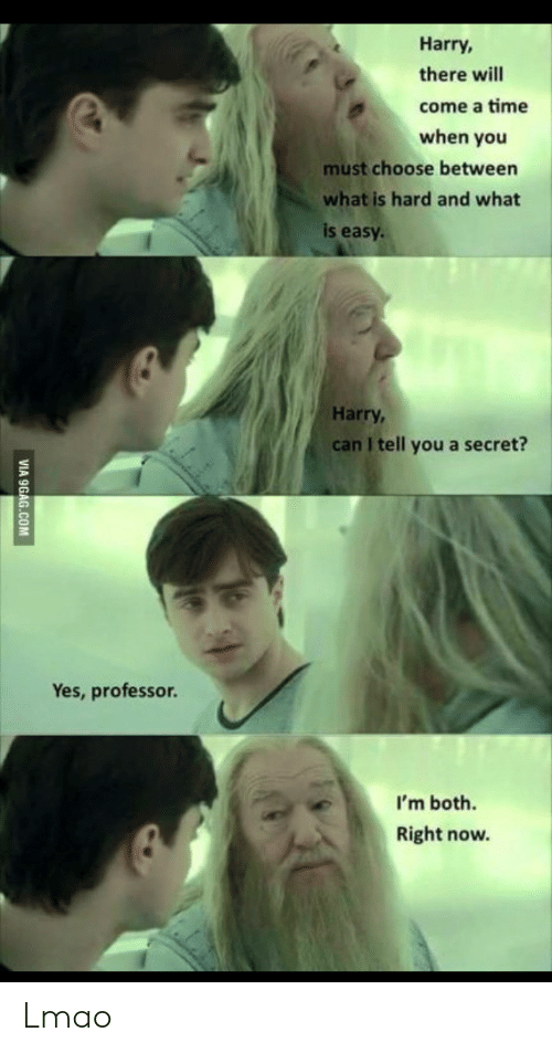9Gag Com: Harry,  there will  come a time  when you  must choose between  what is hard and what  is easy  Harry,  can I tell you a secret?  Yes, professor.  I'm both.  Right now.  VIA 9GAG.COM Lmao