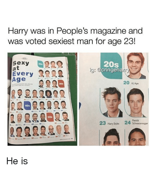 Peoples Magazine: Harry was in People's magazine and  was voted sexiest man for age 23!  sexy  at  Every  Age  20s  cringeh  20s  ig:  20 KJApa  30s  40s  50s  Patrick  23 Hary Stydes 24  2222202 He is