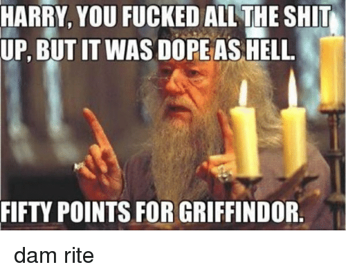 Griffindore: HARRY, YOU FUCKED ALL THE SHIT  UP, BUT IT WAS DOPE AS HELL  FIFTY POINTS FOR GRIFFINDOR dam rite