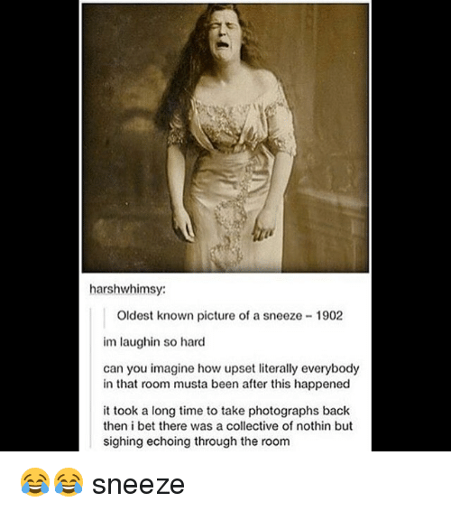 I Bet, Memes, and Time: harshwhimsy:  Oldest known picture of a sneeze 1902  im laughin so hard  can you imagine how upset literally everybody  in that room musta been after this happened  it took a long time to take photographs back  then i bet there was a collective of nothin but  sighing echoing through the room 😂😂 sneeze