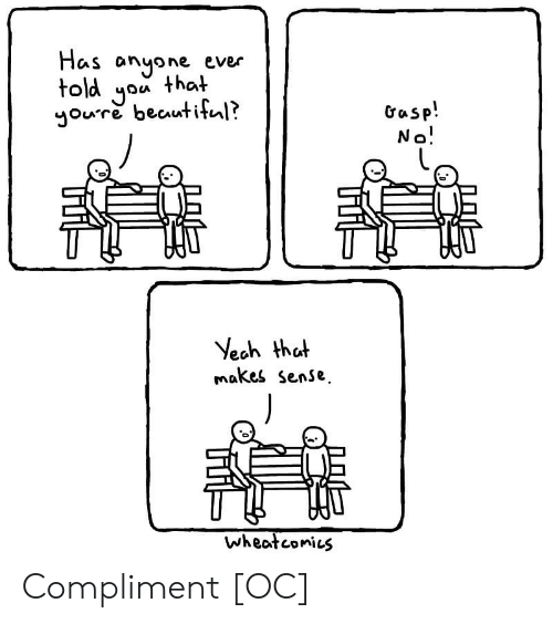 Told You: Has anyone ever  told you that  youre beautiful?  Gasp!  No!  Yeah that  makes sense  wheatconies Compliment [OC]