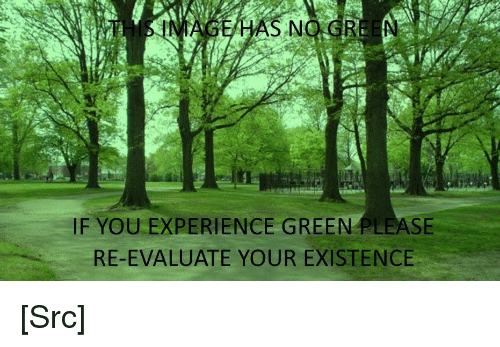 gre: HAS NO.GRE N  IF YOU EXPERIENCE GREEN PLEASE  RE-EVALUATE YOUR EXISTENCE [Src]