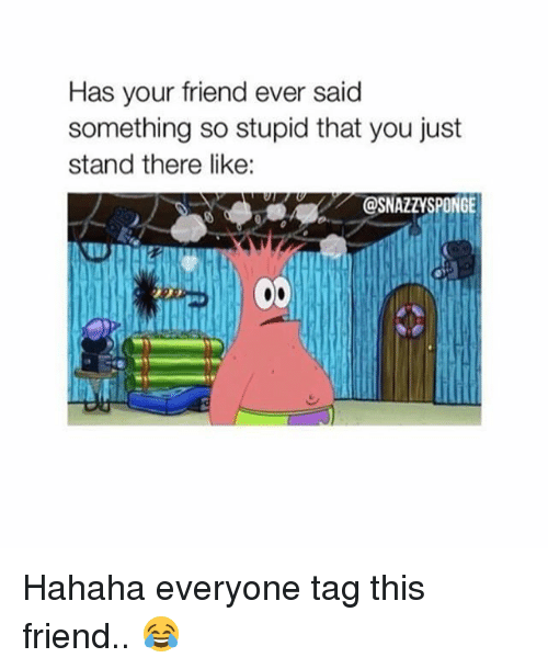 Memes, 🤖, and Friend: Has your friend ever said  something so stupid that you just  stand there like:  @SNAZZYSPONGE Hahaha everyone tag this friend.. 😂