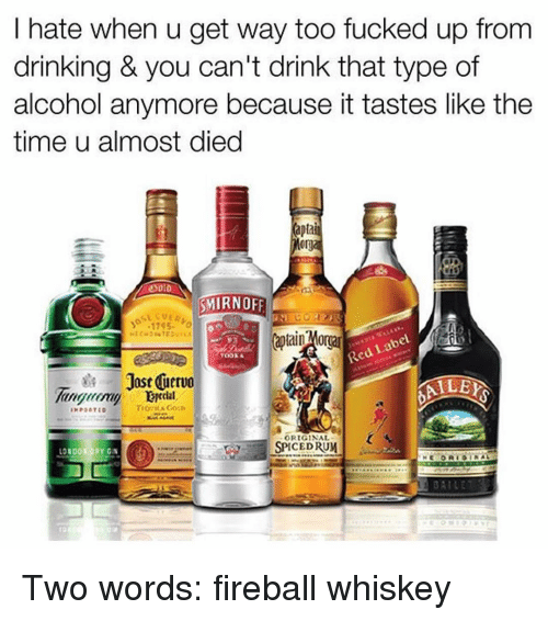 fireball whiskey: hate when u get way too fucked up from  drinking & you can't drink that type of  alcohol anymore because it tastes like the  time u almost died  apta  org  SMIRNOFF  17 S5  bel  Red La  TODKA  Jost nervo  ALE  ORIGINAL  SPICE DRUM  LO  ORY GIN  MBAILE Two words: fireball whiskey