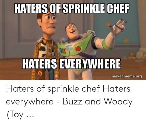 Sprinkle Chef: HATERS OF SPRINKLE CHER  HATERS EVERYWHERE  makeameme.org Haters of sprinkle chef Haters everywhere - Buzz and Woody (Toy ...