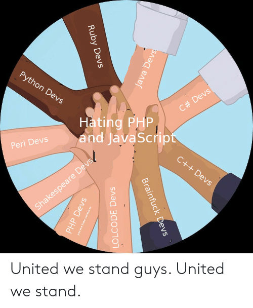 United We Stand: Hating PHP  and javaScript  pert Devs and JavaScrip  C# Devs  2  5  Sha United we stand guys. United we stand.