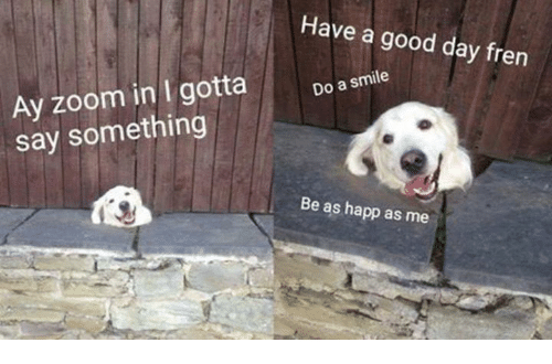 Zoom, Good, and Smile: Have a good day fren  Ay zoom in I gotta  Do a smile  say something  Be as happ as me