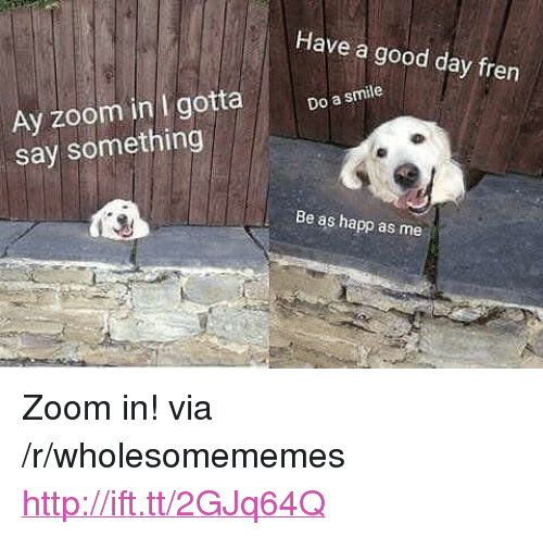 """Zoom, Good, and Http: Have a good day fren  Ay zoom in I gotta  say something  Do a smile  Be as happ as me <p>Zoom in! via /r/wholesomememes <a href=""""http://ift.tt/2GJq64Q"""">http://ift.tt/2GJq64Q</a></p>"""