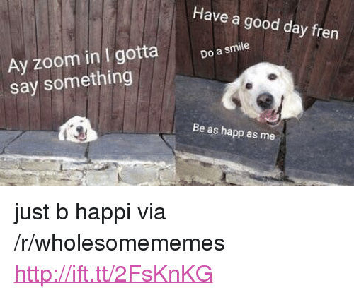 """Zoom, Good, and Http: Have a good day fren  Ay zoom in I gotta  say something  Do a smile  Be as happ as me <p>just b happi via /r/wholesomememes <a href=""""http://ift.tt/2FsKnKG"""">http://ift.tt/2FsKnKG</a></p>"""