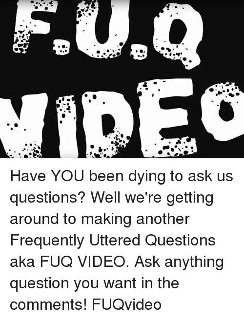 Memes, Video, and Been: Have YOU been dying to ask us questions? Well we're getting around to making another Frequently Uttered Questions aka FUQ VIDEO. Ask anything question you want in the comments! FUQvideo