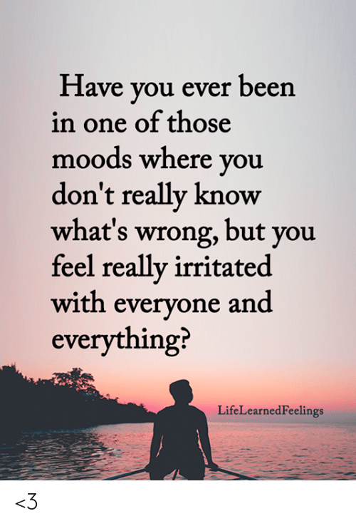 Have You Ever Been: Have you ever been  in one of those  moods where you  don't really know  what's wrong, but you  feel really irritated  with everyone and  everything?  LifeLearnedFeelings <3