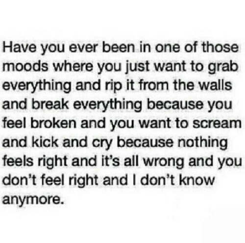 Have You Ever Been: Have you ever been in one of those  moods where you just want to grab  everything and rip it from the walls  and break everything because you  feel broken and you want to scream  and kick and cry because nothing  feels right and it's all wrong and you  don't feel right and I don't know  anymore.