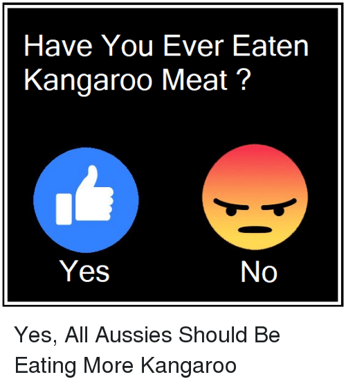 Memes, Aussies, and 🤖: Have You Ever Eaten  Kangaroo Meat?  Yes  No Yes, All Aussies Should Be Eating More Kangaroo