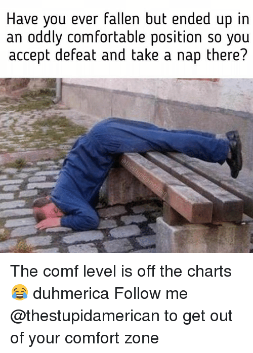 Off The Charts: Have you ever fallen but ended up in  an oddly comfortable position so you  accept defeat and take a nap there? The comf level is off the charts 😂 duhmerica Follow me @thestupidamerican to get out of your comfort zone