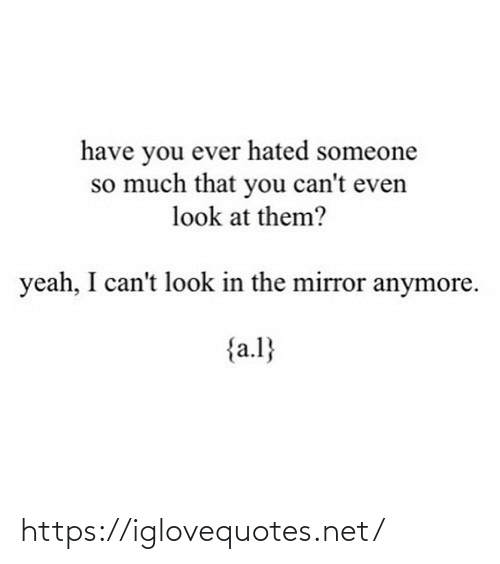 Yeah, Mirror, and Net: have you ever hated someone  so much that you can't even  look at them?  yeah, I can't look in the mirror anymore.  {a.l} https://iglovequotes.net/