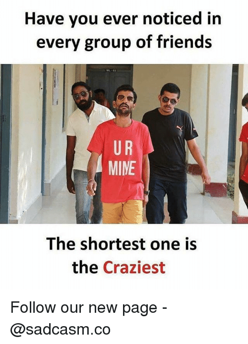Friends, Memes, and 🤖: Have you ever noticed in  every group of friends  U R  MINE  The shortest one is  the Craziest Follow our new page - @sadcasm.co