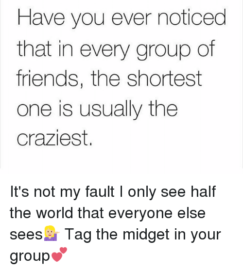 Friends, Memes, and World: Have you ever noticed  that in every group of  friends, the shortest  one is usually the  craziest. It's not my fault I only see half the world that everyone else sees💁🏼 Tag the midget in your group💕