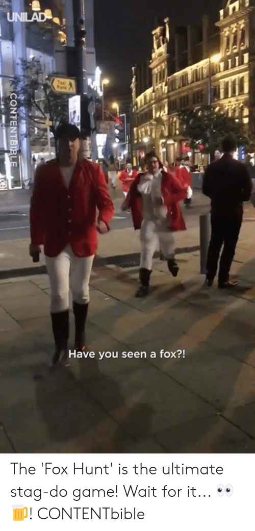 Stag: Have you seen a fox?! The 'Fox Hunt' is the ultimate stag-do game! Wait for it... 👀🍺!  CONTENTbible