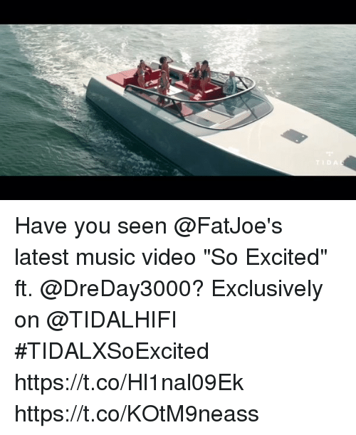 """Music, Video, and Music Video: Have you seen @FatJoe's latest music video """"So Excited"""" ft. @DreDay3000? Exclusively on @TIDALHIFI #TIDALXSoExcited https://t.co/Hl1nal09Ek https://t.co/KOtM9neass"""