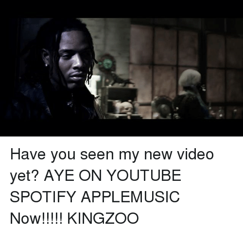 Memes, youtube.com, and Spotify: Have you seen my new video yet? AYE ON YOUTUBE SPOTIFY APPLEMUSIC Now!!!!! KINGZOO