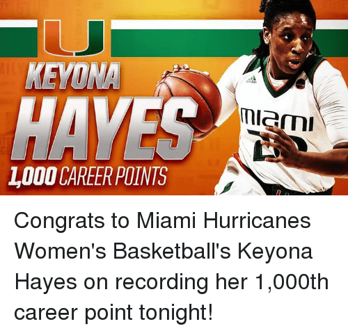 miami hurricanes: HAVEC  LODO CAREER POINTS  miami Congrats to Miami Hurricanes Women's Basketball's Keyona Hayes on recording her 1,000th career point tonight!