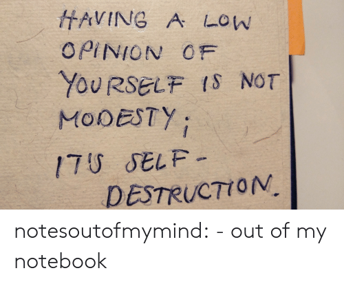 destruction: HAVING A LOW  OPINION OF  YOURSELF IS NOT  MODESTY  17U SELF-  DESTRUCTION notesoutofmymind:  - out of my notebook