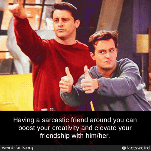 sarcastic: Having a sarcastic friend around you can  boost your creativity and elevate your  friendship with him/her.  weird-facts.org  @factsweird