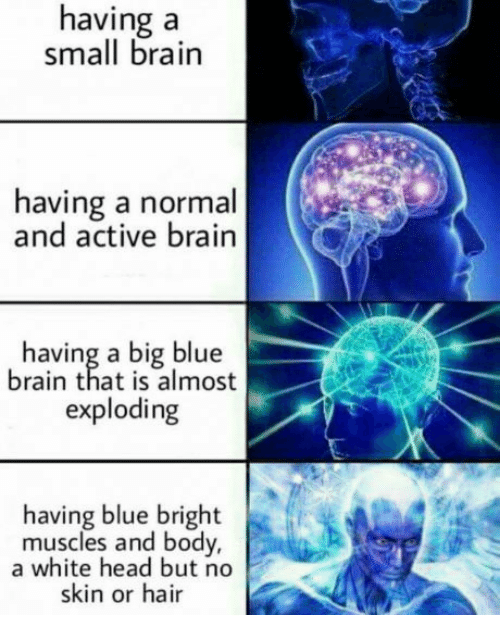 Big Blue: having a  small brain  having a normal  and active brain  having a big blue  brain that is almost  exploding  having blue bright  muscles and body,  a white head but no  skin or hair