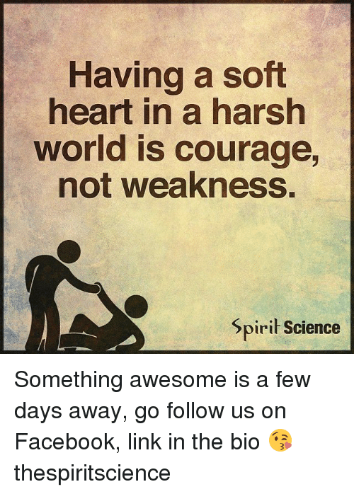 Facebook, Memes, and Heart: Having a soft  heart in a harsh  world is courage,  not weakness.  Spiri Science Something awesome is a few days away, go follow us on Facebook, link in the bio 😘 thespiritscience