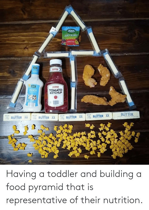 pyramid: Having a toddler and building a food pyramid that is representative of their nutrition.