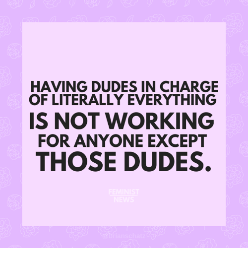 Memes, 🤖, and Working: HAVING DUDES IN CHARGE  OF LITERALLY EVERYTHING  IS NOT WORKING  FOR ANYONE EXCEPT  THOSE DUDES.