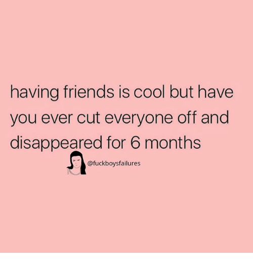 Friends, Cool, and Girl Memes: having friends is cool but have  you ever cut everyone off and  disappeared for 6 months  @fuckboysfailures