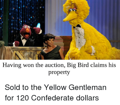Having Won The Auction Big Bird Claims His Property Sold To