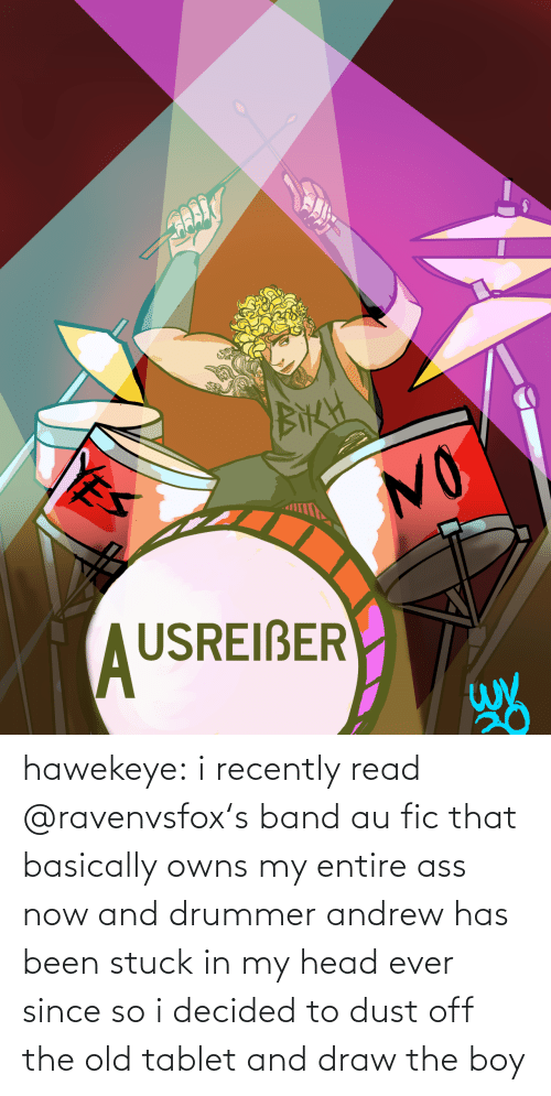 org: hawekeye: i recently read @ravenvsfox's band aufic that basically owns my entire ass now and drummer andrew has been stuck in my head ever since so i decided to dust off the old tablet and draw the boy