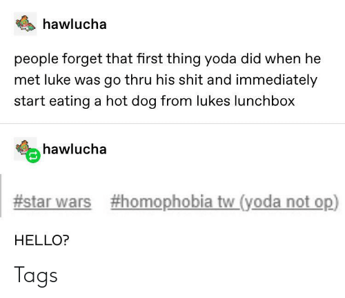 Thru: hawlucha  people forget that first thing yoda did when he  met luke was go thru his shit and immediately  start eating a hot dog from lukes lunchbox  hawlucha  #star wars  #homophobia tw_(yoda not op)  HELLO? Tags