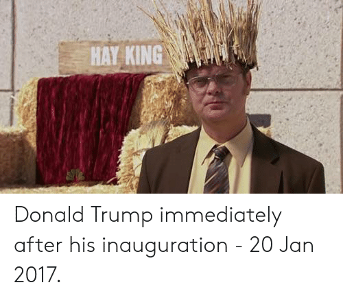 Inauguration: HAY KING Donald Trump immediately after his inauguration - 20 Jan 2017.