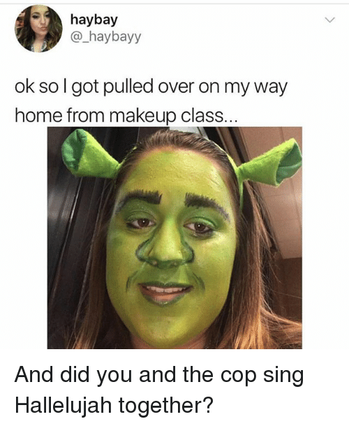 Hallelujah, Makeup, and Home: haybay  @ haybayy  ok so I got pulled over on my way  home from makeup class And did you and the cop sing Hallelujah together?