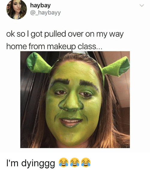 Makeup, Home, and Relatable: haybay  @_haybayy  ok so I got pulled over on my way  home from makeup class. I'm dyinggg 😂😂😂