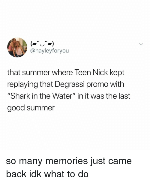 """Degrassi: @hayleyforyou  that summer where Teen Nick kept  replaying that Degrassi promo with  """"Shark in the Water"""" in it was the last  good summer so many memories just came back idk what to do"""