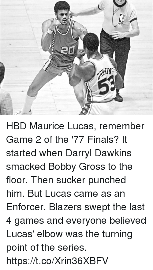 Darryl: HBD Maurice Lucas, remember Game 2 of the '77 Finals?  It started when Darryl Dawkins smacked Bobby Gross to the floor. Then sucker punched him. But Lucas came as an Enforcer. Blazers swept the last 4 games and everyone believed Lucas' elbow was the turning point of the series. https://t.co/Xrin36XBFV