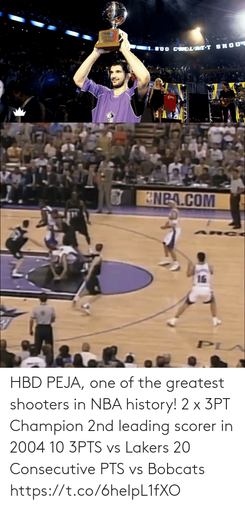 NBA: HBD PEJA, one of the greatest shooters in NBA history!  2 x 3PT Champion 2nd leading scorer in 2004 10 3PTS vs Lakers 20 Consecutive PTS vs Bobcats https://t.co/6heIpL1fXO