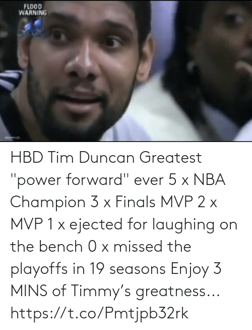 """Mins: HBD Tim Duncan  Greatest """"power forward"""" ever 5 x NBA Champion 3 x Finals MVP 2 x MVP 1 x ejected for laughing on the bench 0 x missed the playoffs in 19 seasons  Enjoy 3 MINS of Timmy's greatness...   https://t.co/Pmtjpb32rk"""