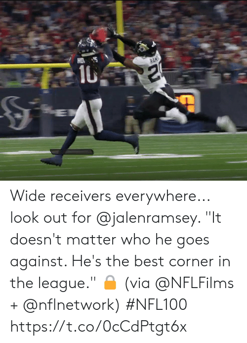 "The League: HD  10  RANS Wide receivers everywhere... look out for @jalenramsey.   ""It doesn't matter who he goes against. He's the best corner in the league."" 🔒 (via @NFLFilms + @nflnetwork) #NFL100 https://t.co/0cCdPtgt6x"